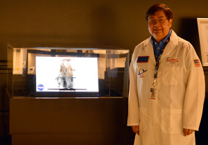 Dr. Ken Fernandez shown with the 3-D X-Ray exhibit at the U.S. Space and Rocket Center