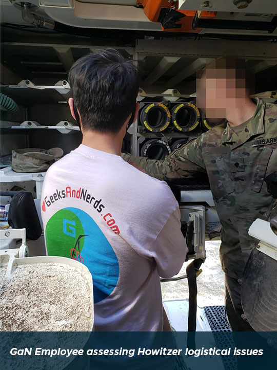 GaN Employee assessing Howitzer logistical issues